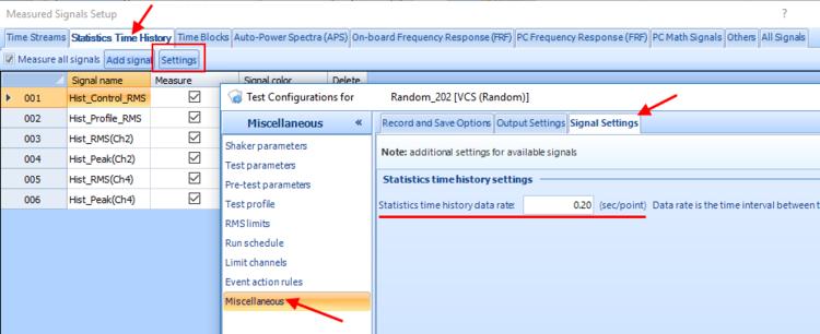 查看振动控制软件(VCS)中的统计时程信号 2